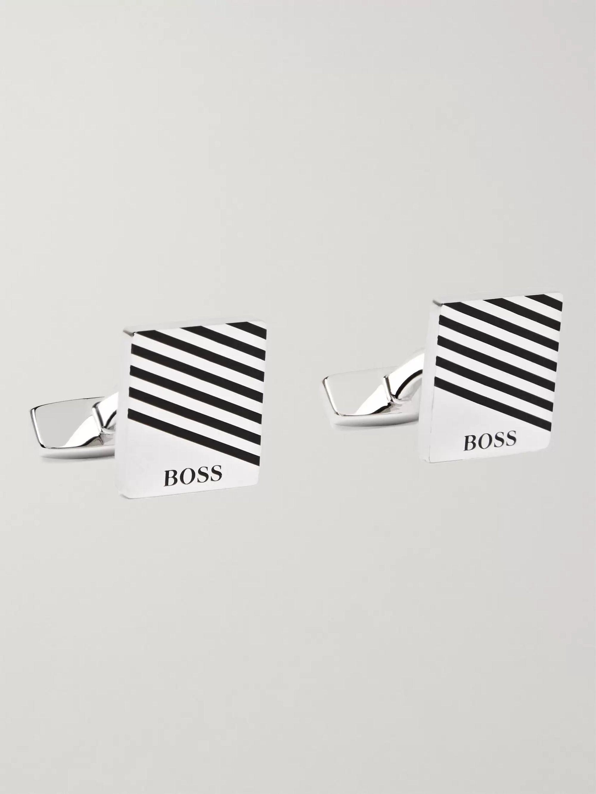 Hugo Boss Jango Tango Silver-Tone and Enamel Cufflinks and Tie Bar Set