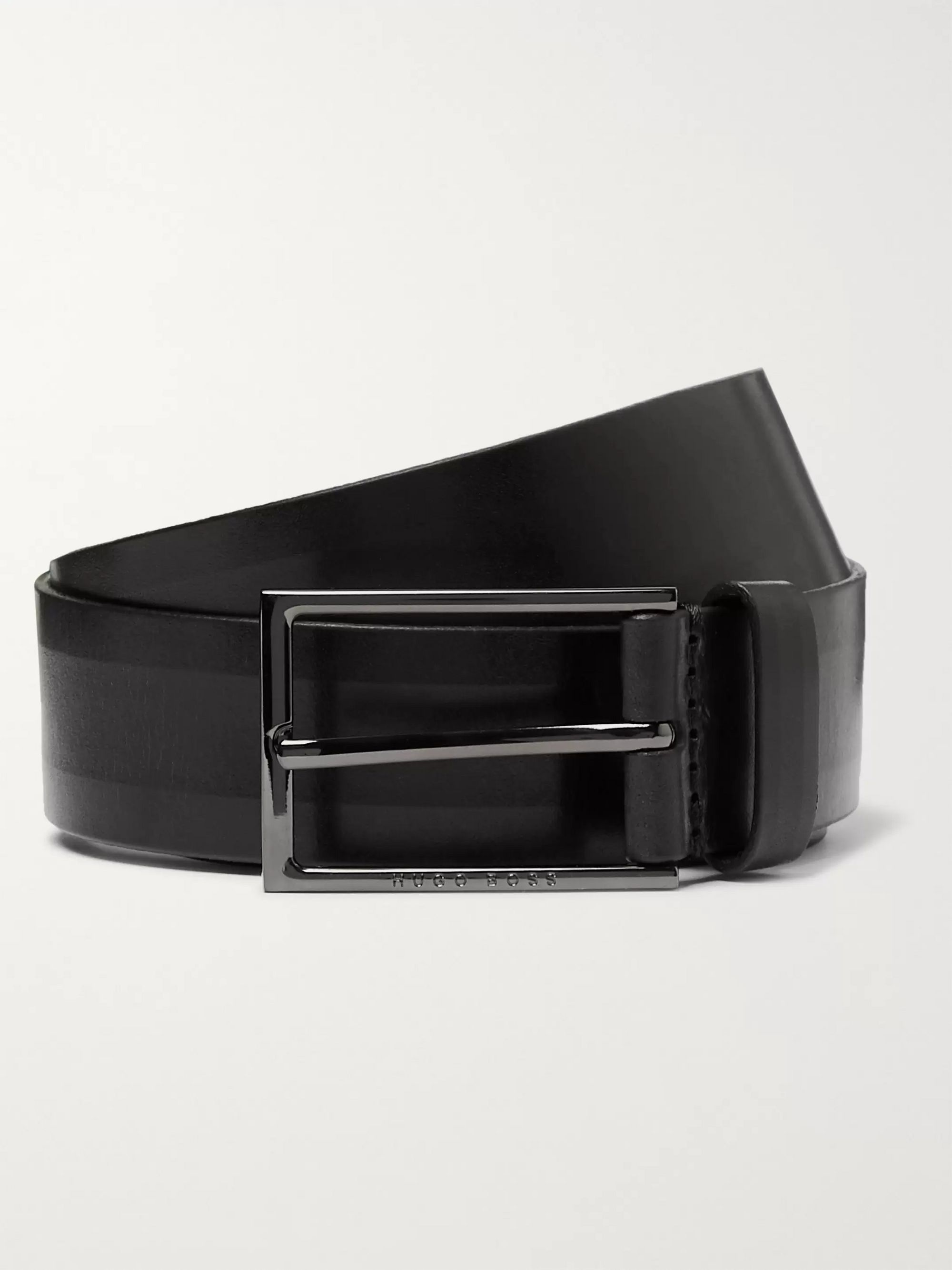 Hugo Boss 4cm Black Carmello Leather Belt