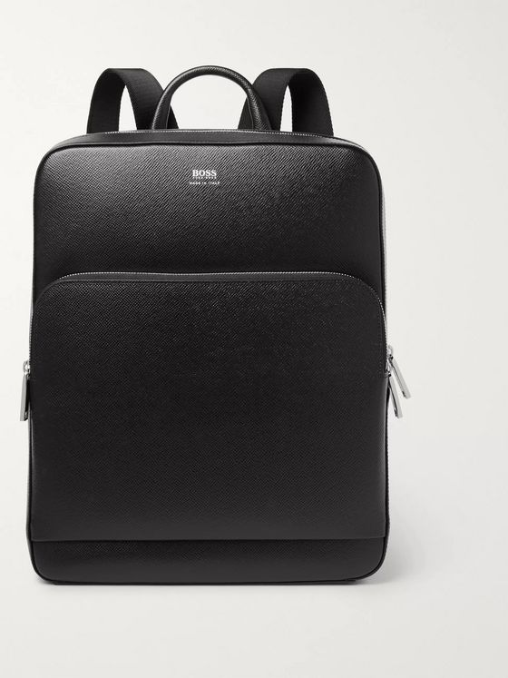 Hugo Boss Signature Full-Grain Leather Backpack