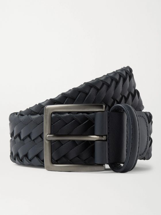 Loro Piana 4cm Navy Woven Leather Belt