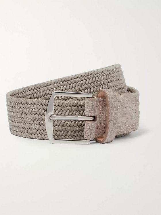 Loro Piana 3.5cm Suede and Leather-Trimmed Woven Canvas Belt