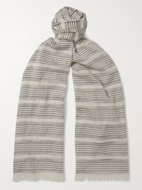 Loro Piana Striped Cashmere, Silk and Cotton-Blend Scarf