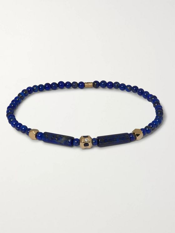 Luis Morais 14-Karat Gold, Sapphire and Diamond Beaded Bracelet