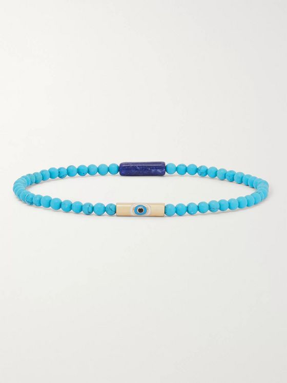 Luis Morais Evil Eye Bead, Enamel and Gold Bracelet