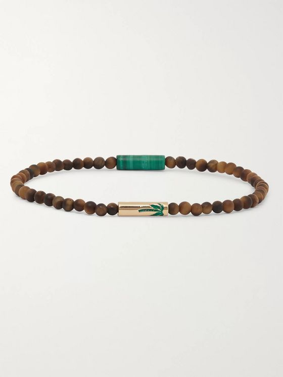 Luis Morais Tiger's Eye, 14-Karat Gold and Enamel Bracelet