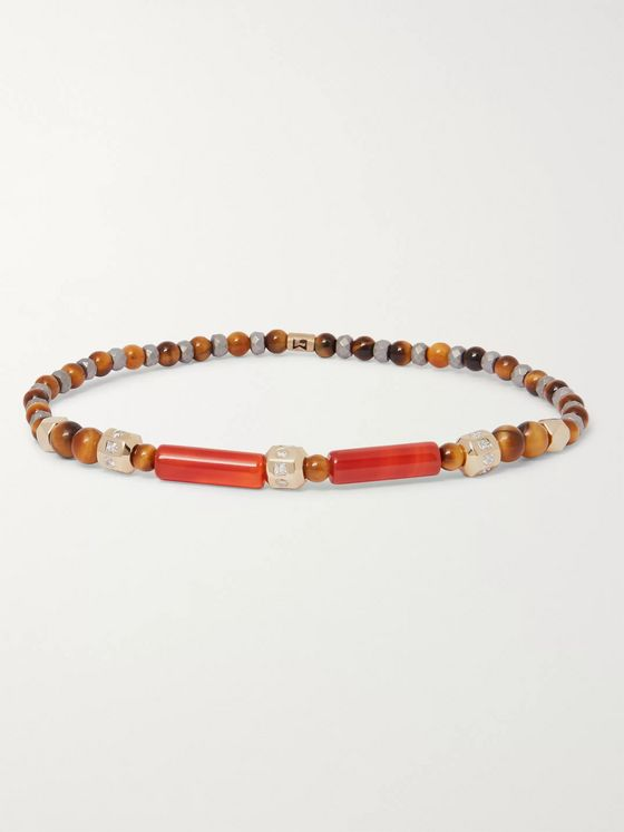 Luis Morais 14-Karat Gold, Tiger's Eye and Diamond Bracelet