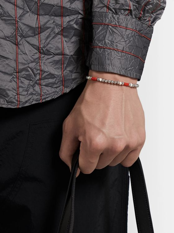M.Cohen Oxidised Sterling Silver and Coral Beaded Wrap Bracelet