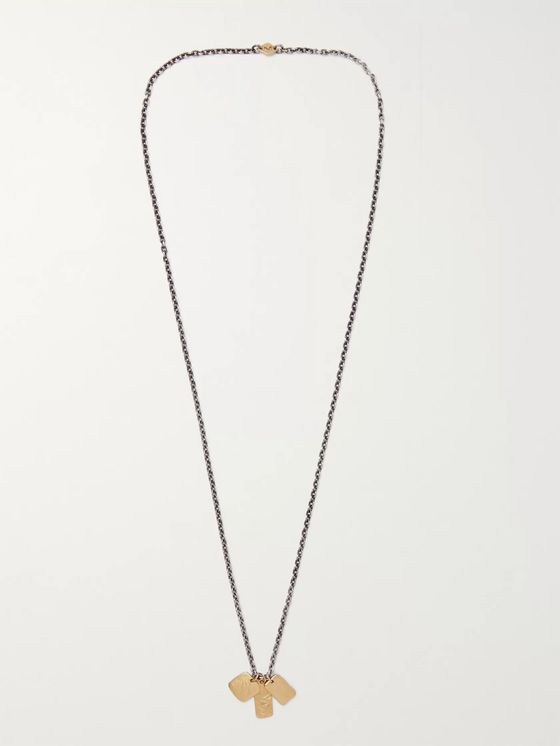 M.Cohen Oxidised Sterling Silver and 18-Karat Gold Necklace