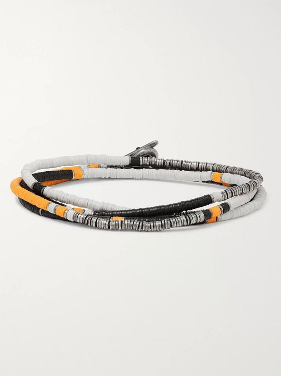 M.Cohen Sterling Silver and Vinyl Beaded Wrap Bracelet