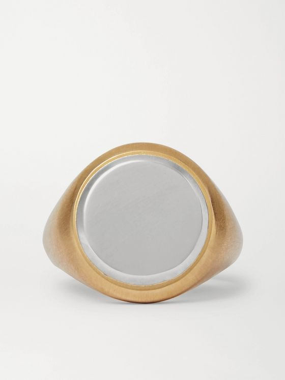 M.Cohen 18-Karat Gold and Sterling Silver Signet Ring