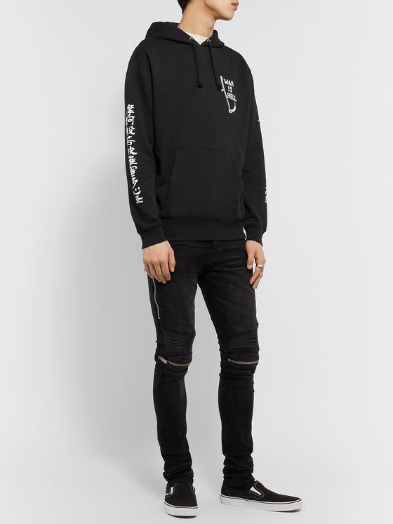 Blackmeans Printed Loopback Cotton-Jersey Hoodie