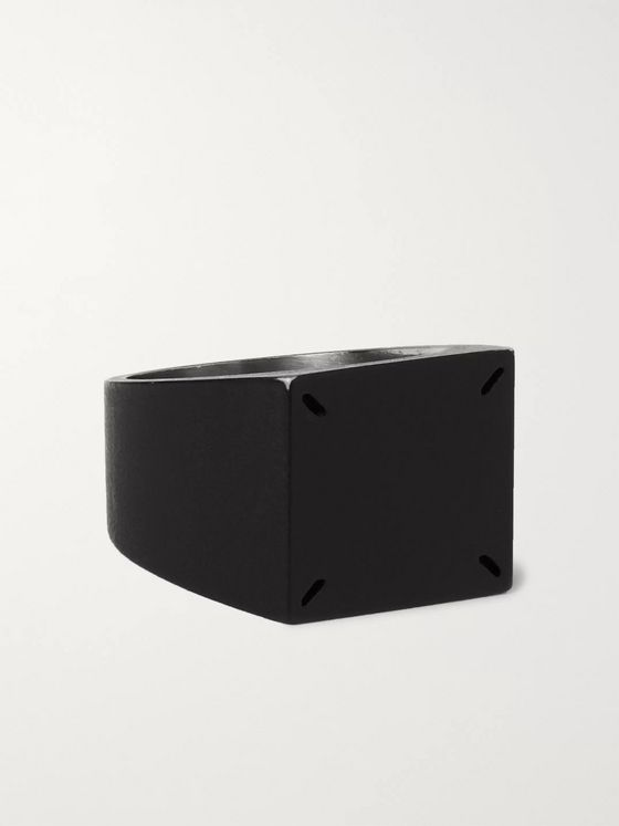 Maison Margiela Matte-Black and Silver-Tone Signet Ring