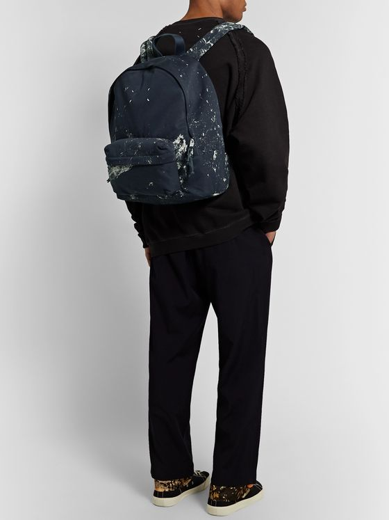 Maison Margiela Paint-Splattered Cotton-Twill Backpack