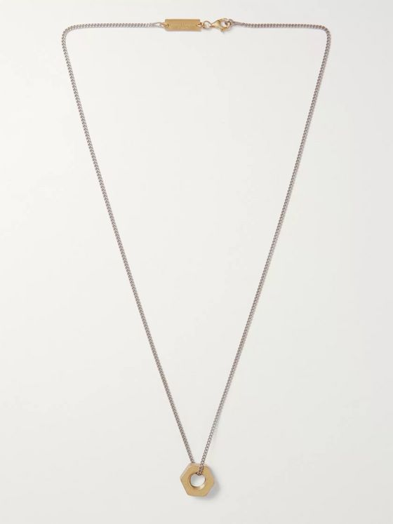 Maison Margiela Burnished Sterling Silver and Gold-Plated Necklace