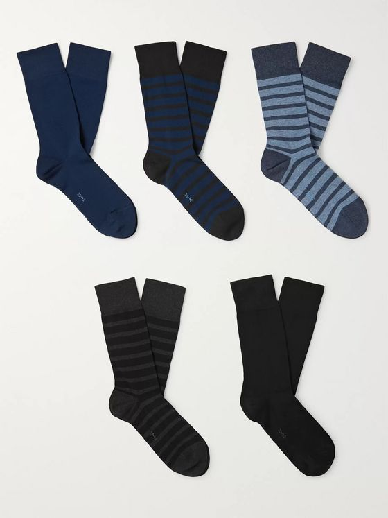 FALKE Happy Five-Pack Stretch Cotton-Blend Socks