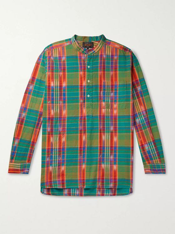Beams Plus Grandad-Collar Checked Madras Cotton Shirt