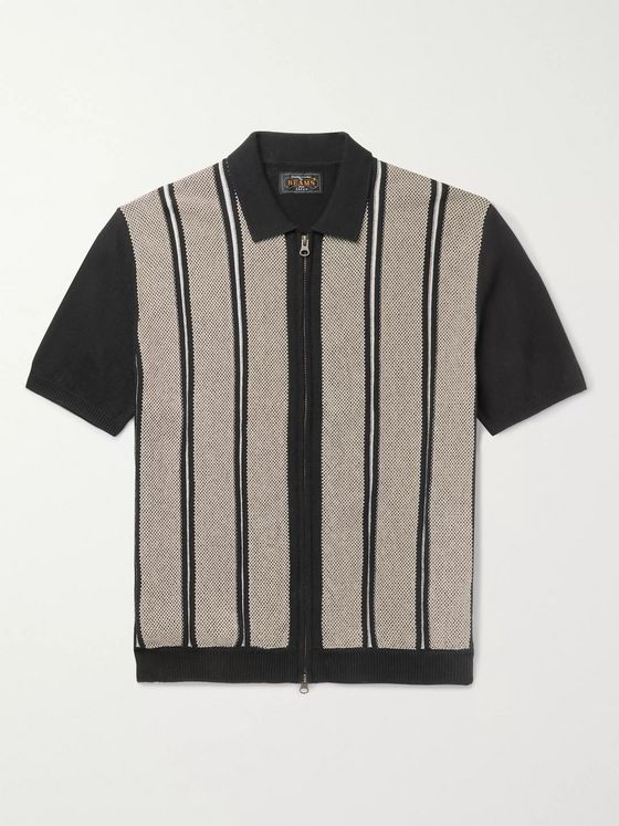 Beams Plus Slim-Fit Striped Cotton and Linen-Blend Zip-Up Polo Shirt