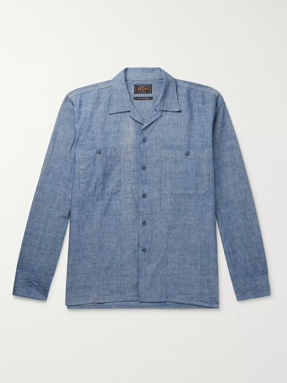 Beams Plus Camp-Collar Cotton-Chambray Shirt