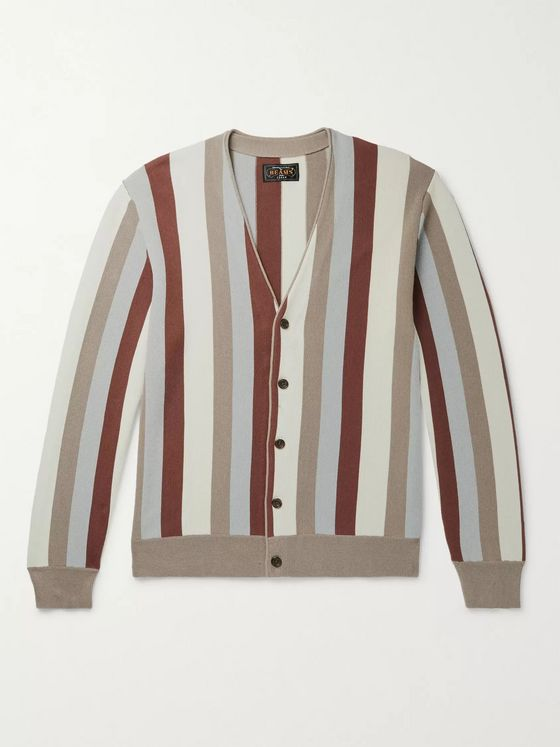 Beams Plus Slim-Fit Striped Cotton Cardigan