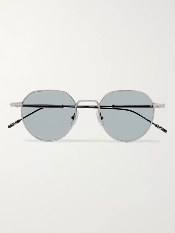 Montblanc Round-Frame Silver-Tone Sunglasses