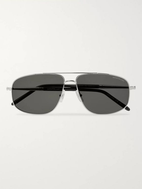 Montblanc Aviator-Style Silver-Tone Sunglasses