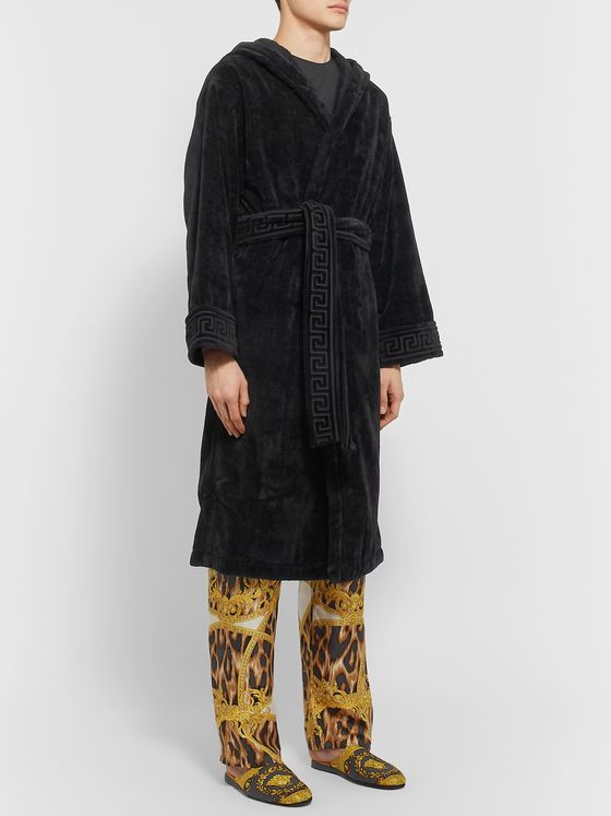 Versace Logo-Jacquard Cotton-Terry Hooded Robe
