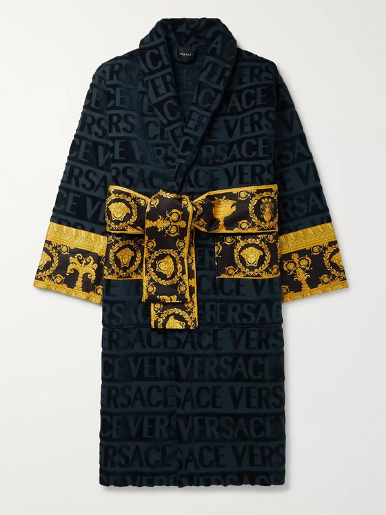 Versace Printed Satin-Trimmed Logo-Jacquard Cotton-Terry Robe