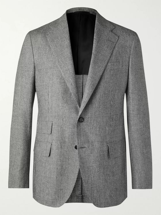 De Petrillo Grey Prince of Wales Checked Virgin Wool Suit Jacket
