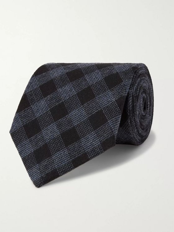 Oliver Spencer 8cm Checked Cotton Tie