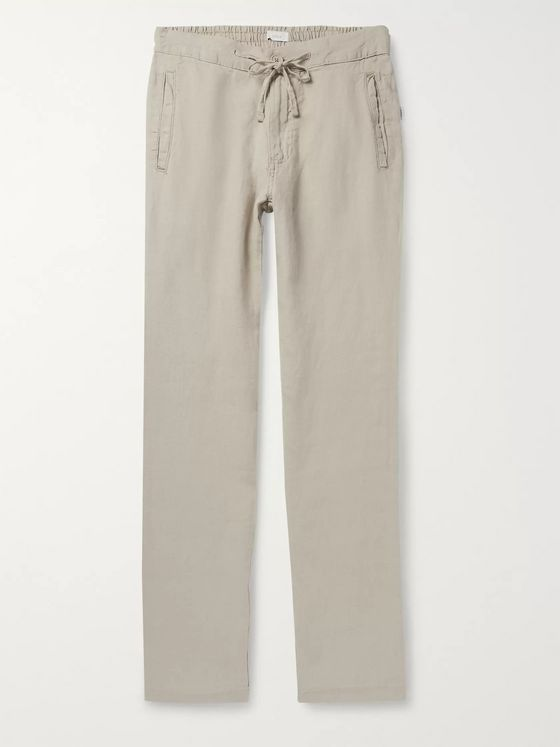 Onia Collin Slub Linen Drawstring Trousers