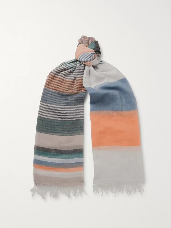 Oliver Spencer Grafton Striped Fringed Cotton-Voile Scarf