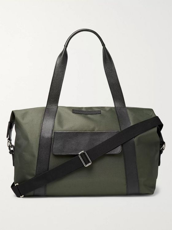 Oliver Spencer Full-Grain Leather-Trimmed Canvas Duffle Bag