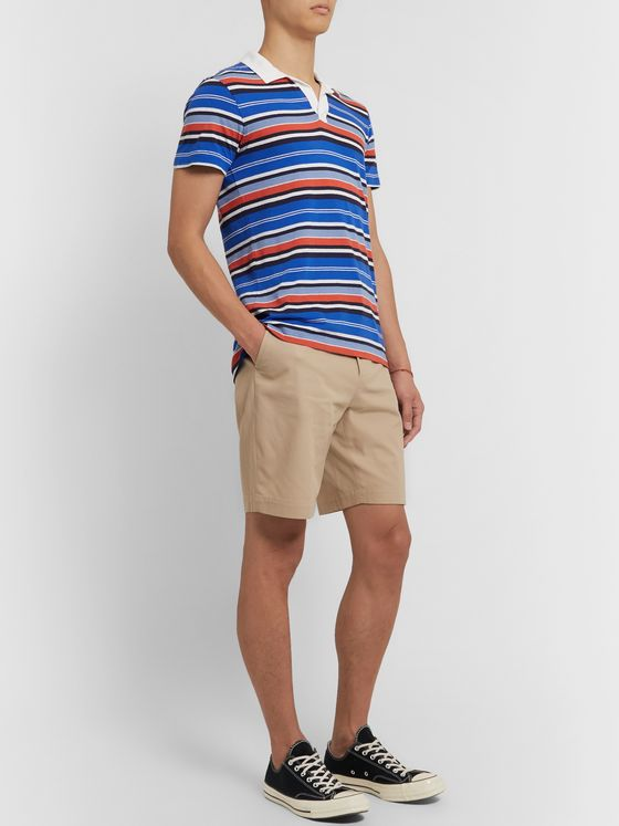 Orlebar Brown Felix Slim-Fit Striped Cotton and Linen-Blend Polo Shirt