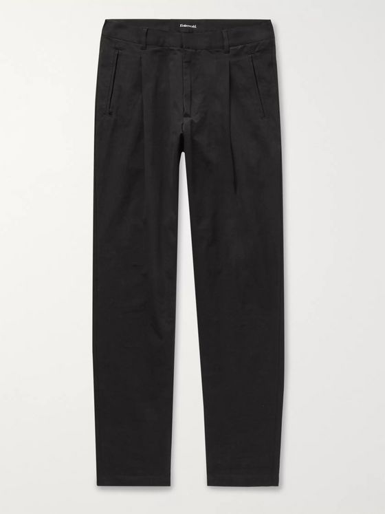 Entireworld Black Pleated Cotton Trousers