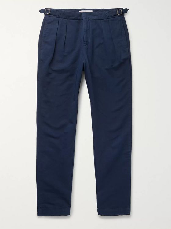 Orlebar Brown Navy Caldwell Tapered Pleated Cotton and Linen-Blend Trousers