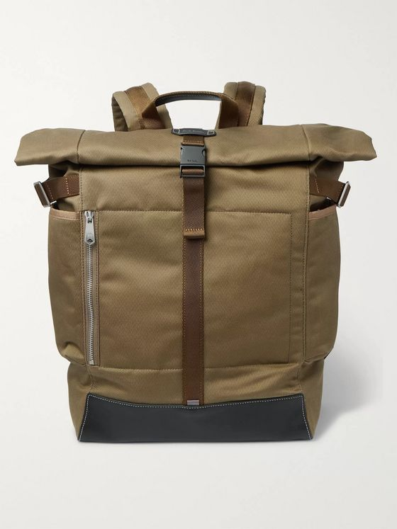 Paul Smith Webbing and Leather-Trimmed Cotton-Canvas Backpack