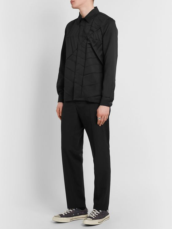 Undercover Spiderweb-Pleated Twill Shirt