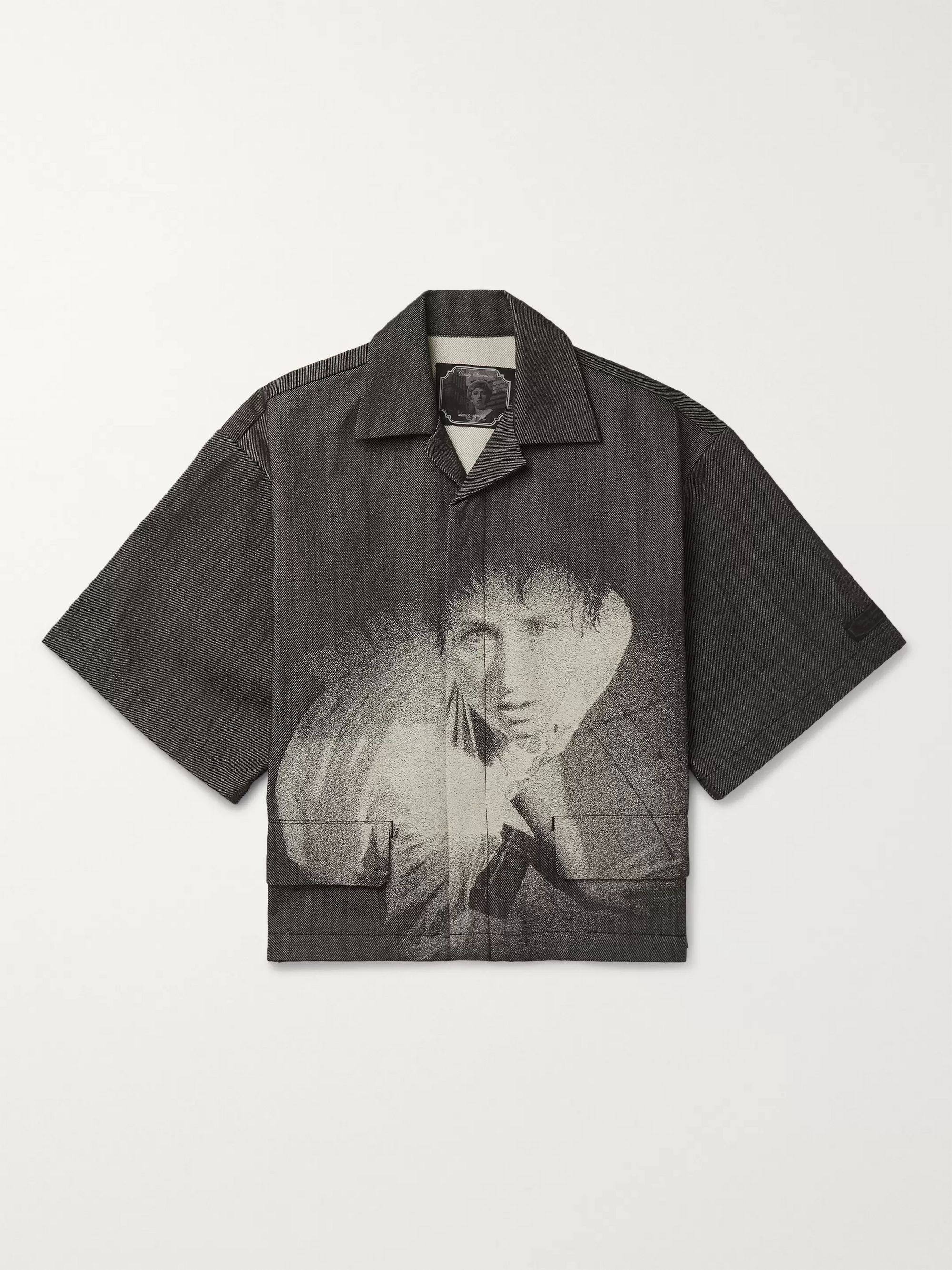 Undercover + Cindy Sherman Camp-Collar Printed Denim Shirt
