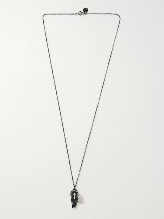 Undercover Blackened Sterling Silver and Enamel Necklace