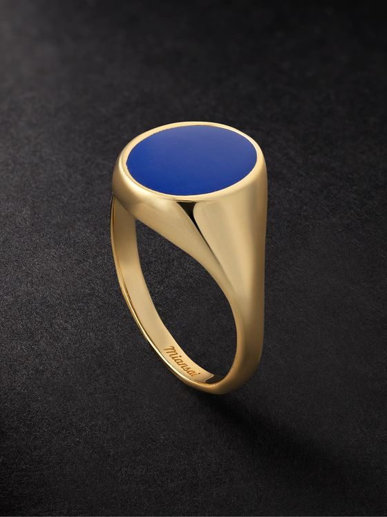 MIANSAI Heritage 14-Karat Gold and Enamel Signet Ring