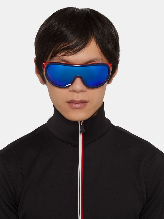 Moncler Round-Frame Mirrored Acetate Ski Sunglasses