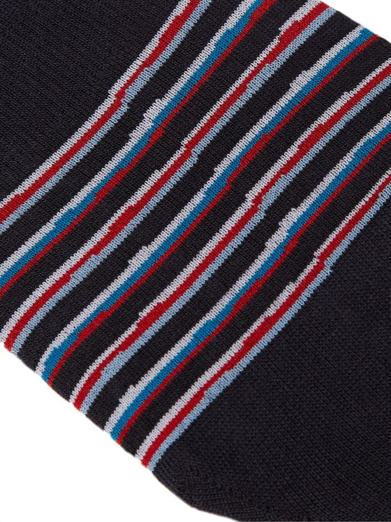 Pantherella Cayman Striped Egyptian Cotton-Blend No-Show Socks