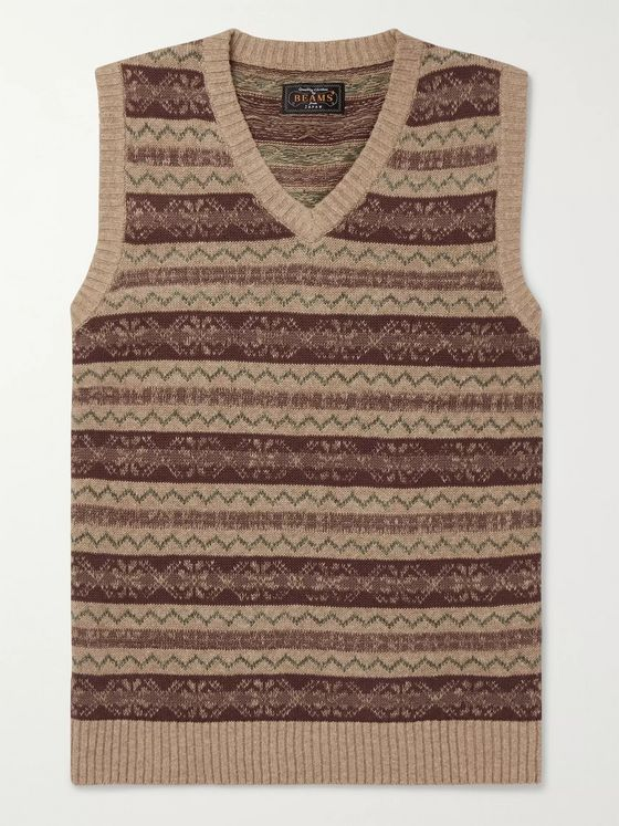 Beams Plus Slim-Fit Fair Isle Linen and Cotton-Blend Sweater Vest