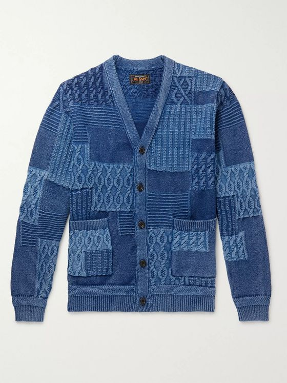 Beams Plus Patchwork Cotton Cardigan