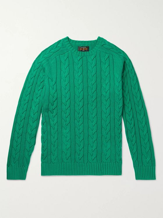 Beams Plus Slim-Fit Cable-Knit Cotton Sweater