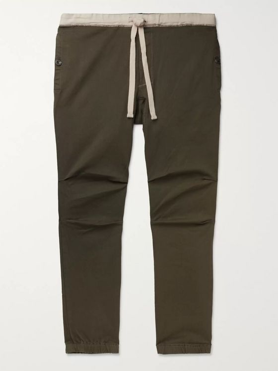 Beams Plus Slim-Fit Tapered Cotton-Blend Twill Drawstring Trousers