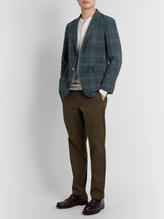 Beams Plus Unstructured Madras-Checked Woven Blazer