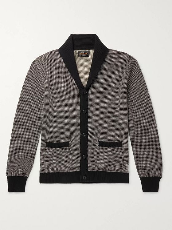 Beams Plus Shawl-Collar Birdseye Cotton and Linen-Blend Cardigan