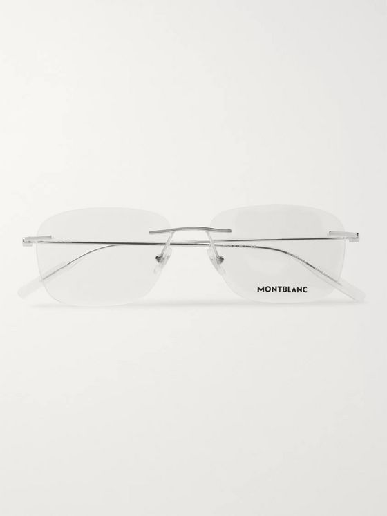 Montblanc Rimless Rectangle-Frame Silver-Tone Optical Glasses