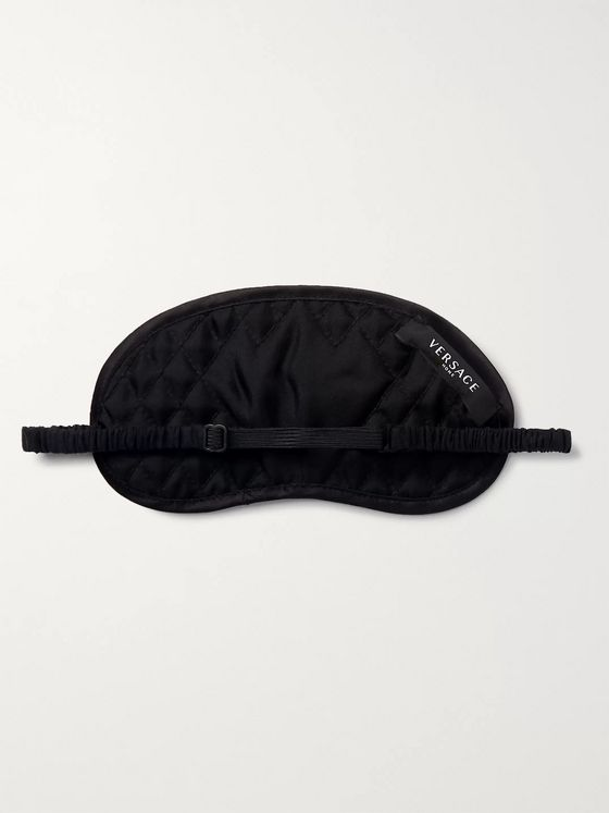 Versace Logo-Print Quilted Silk Eye Mask